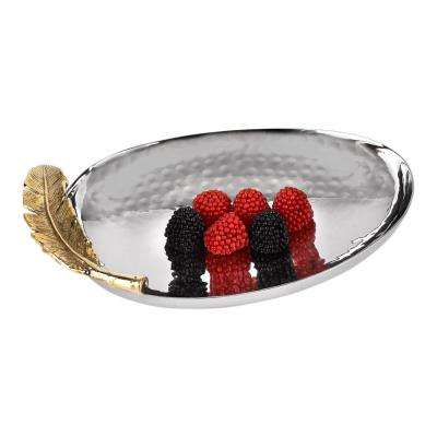 6.75 in. x 4.75 in. Feathers Stainless Steel and Brass Oval Plate