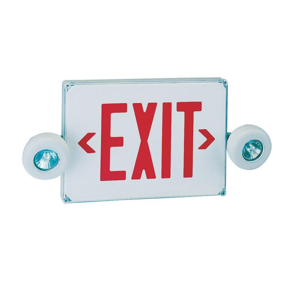 Illumine 2-Light White LED Exit and Emergency Sign Combo with Red Letters