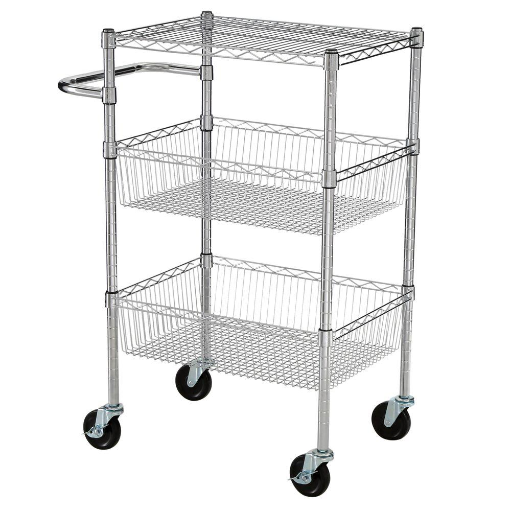 HDX 3 Tier 35 in. H x 24 in. W x 18 in. D Commercial Wire Cart