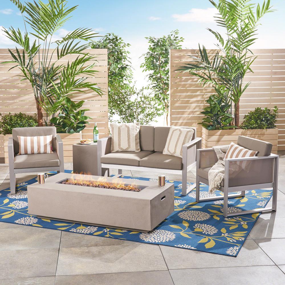 Luca Silver 5-Piece Aluminum Patio Fire Pit Conversation Set with Khaki Cushions