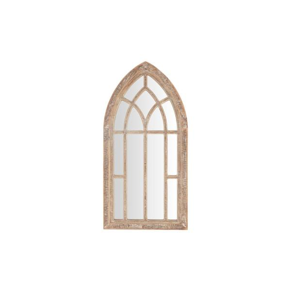 Medium Arched Natural Wood Windowpane Antiqued Farmhouse Accent Mirror (30 in. H x 15 in. W)