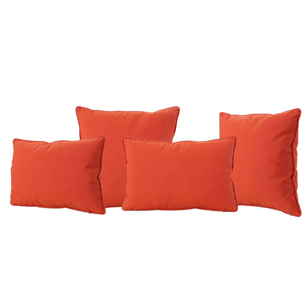 Noble House Coronado Orange Lumbar and Square Outdoor Throw Pillows (4-Pack)