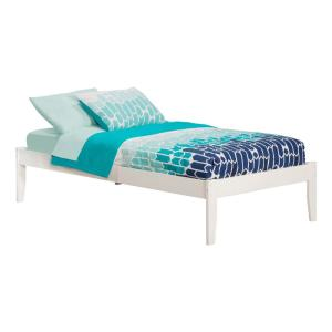 Concord White Twin Platform Bed with Open Foot Board