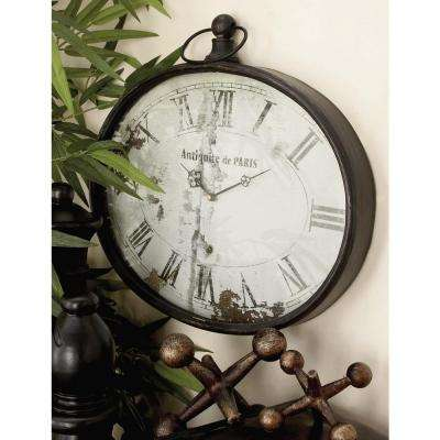 16 in. Paris Inspired Antique Reproduction Style Oval Wall Clock
