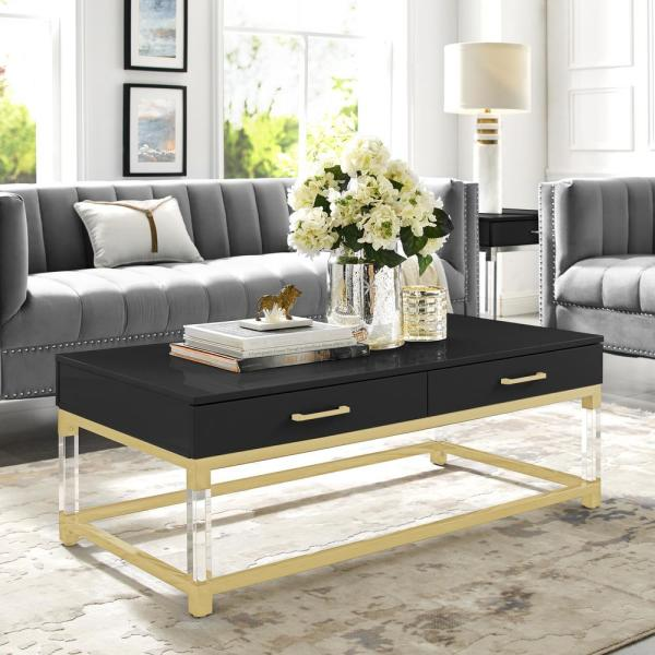 Inspired Home Caspian Black/Gold Coffee Table with High Gloss CT159-09BK-HD