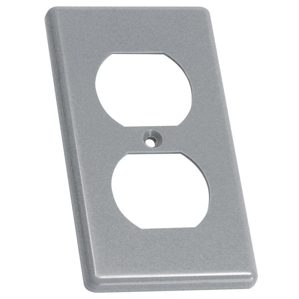 carlon 1 gang gray non metallic handy box duplex receptacle cover