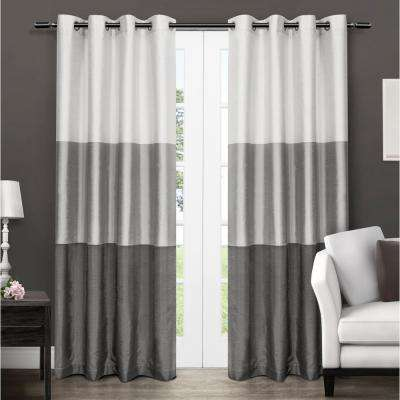 Chateau 54 in. W x 84 in. L Faux Silk Grommet Top Curtain Panel in Black Pearl (2 Panels)