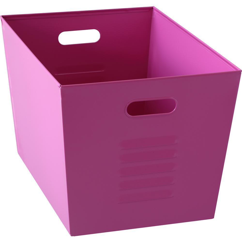 12 in. W x 11 in. H x 17 in. D Galvanized Steel Pink Utility Storage Bins (6-Pack)