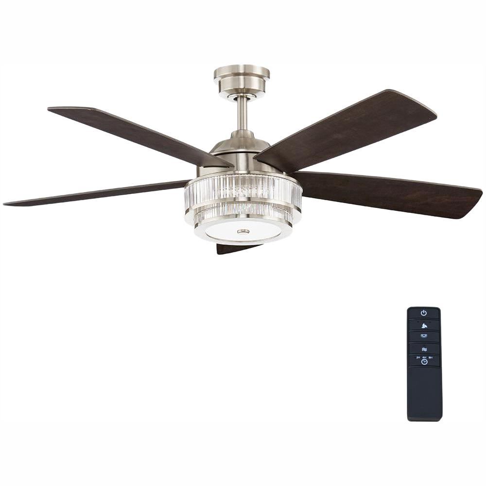 Home Decorators Collection Caldwell 52 in. LED Brushed Nickel Ceiling Fan