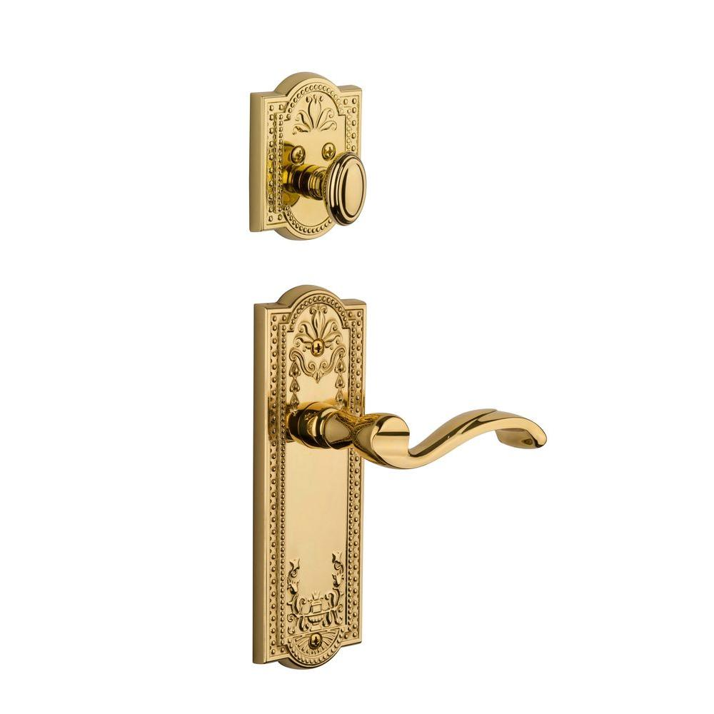 Grandeur Parthenon Single Cylinder Lifetime Brass Combo Pack Keyed Differently with Portofino Lever and Matching Deadbolt