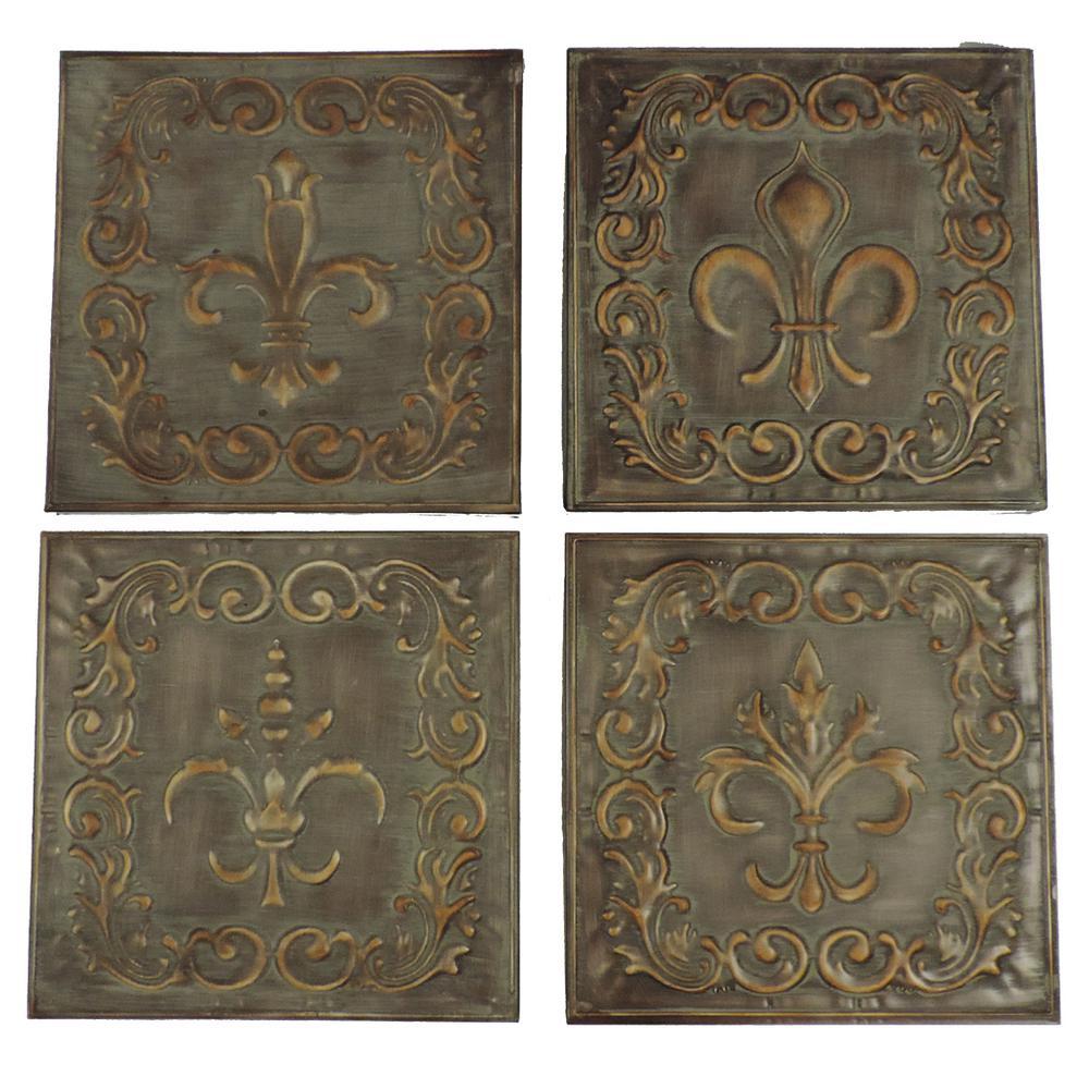 Filigree Carvings Distressed Bronze Metal Wall Decor (Set of 4)