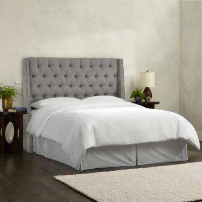 Gracee Linen Grey California King Tufted Wingback Headboard with Pewter Nail Buttons