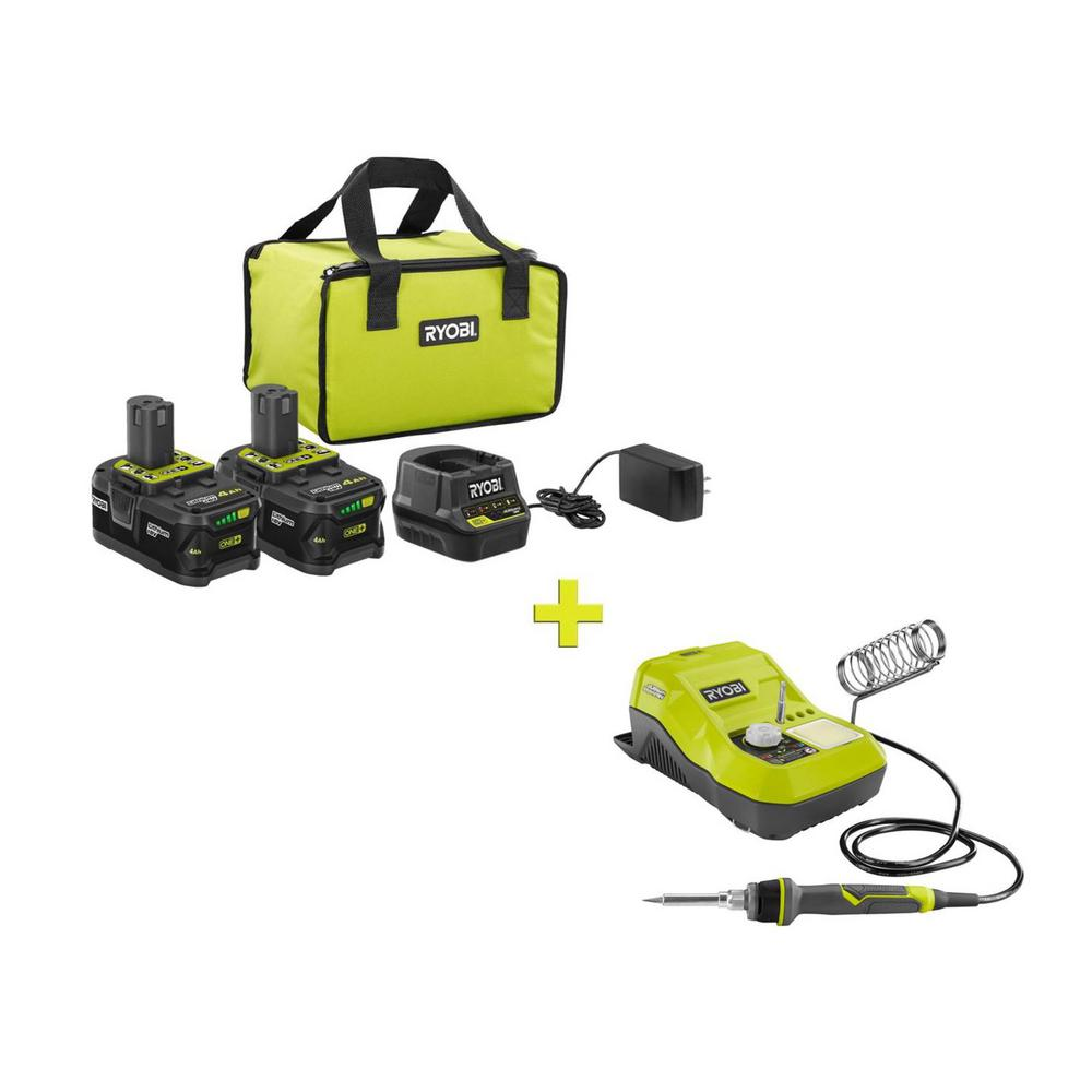 RYOBI 18-Volt ONE+ High Capacity 4.0 Ah Battery (2-Pack) Starter Kit with Charger and Bag w/BONUS ONE+ Soldering Station was $158.97 now $99.0 (38.0% off)