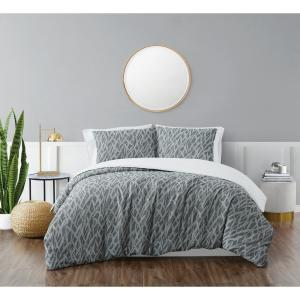 Honey Waffle Grey 3-Piece King Duvet Cover Set
