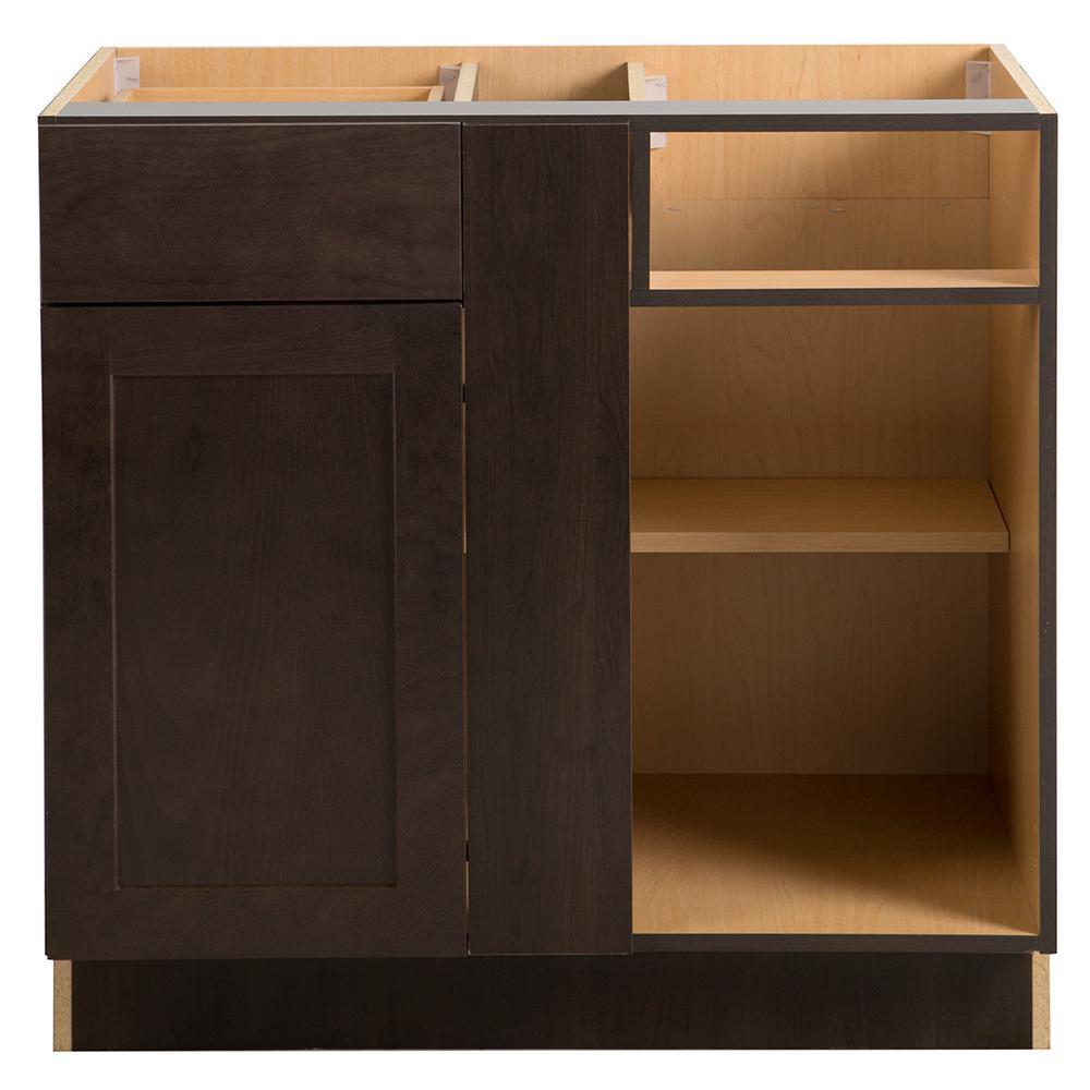 Cambridge Assembled 36x24.5x34.5 in. Blind Base Corner Cabinet in Dusk