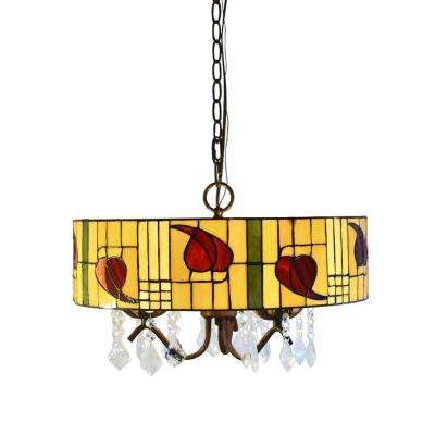 Rosy 3-Light Bronze Tiffany-Style and Crystal Indoor Hanging Lamp with Shade