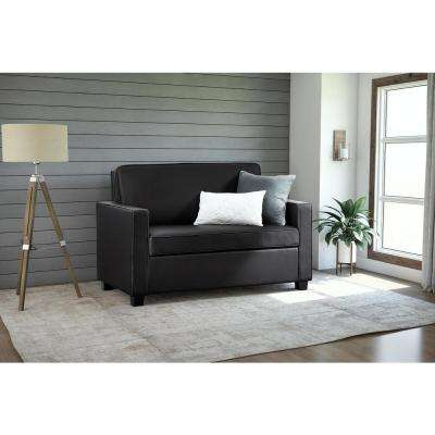 Casey Twin Size Black Faux Leather Sleeper Sofa
