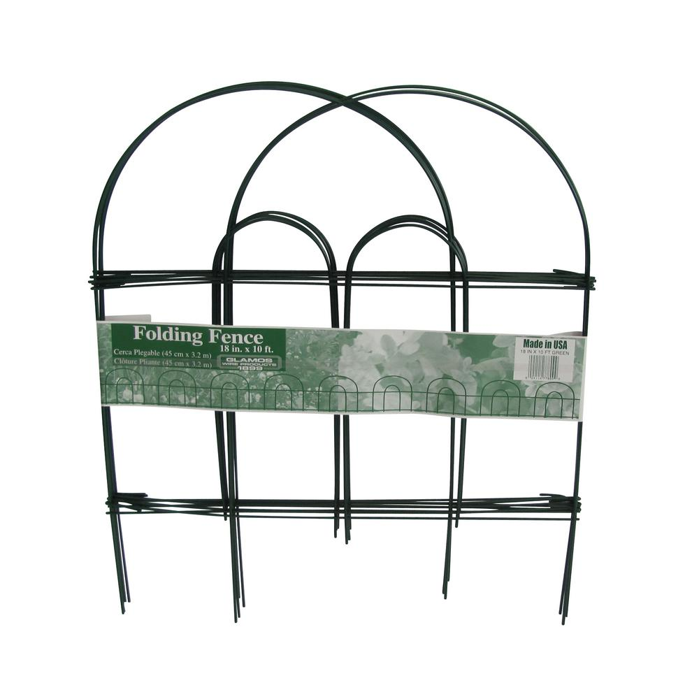 18 in. x 10 ft. Green Folding Metal Wire Garden Fence-778009 - The ...