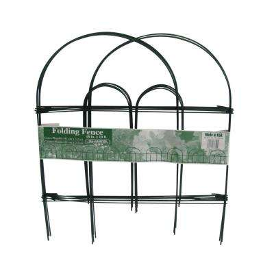 18 in. x 10 ft. Green Folding Metal Wire Garden Fence