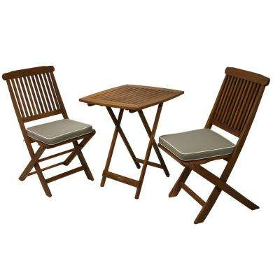 3-Piece Eucalyptus Outdoor Bistro Set with Grey Cushions