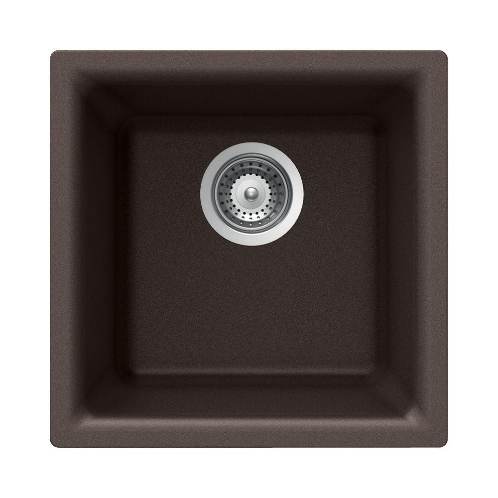 Houzer Quartztone Dual Mount Composite Granite 16 In Single Bowl Kitchen Sink Mocha