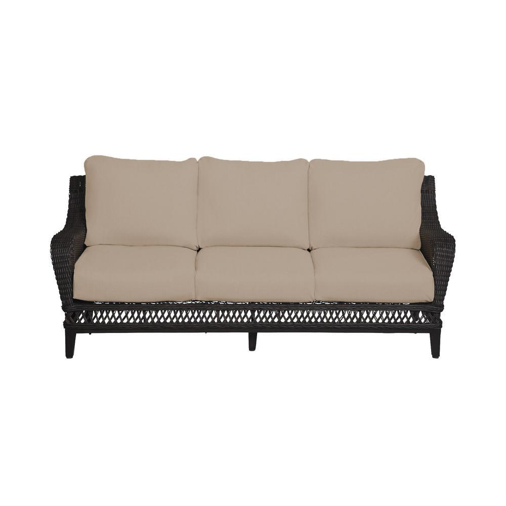Woodbury Dark Brown Wicker Outdoor Patio Sofa with Sunbrella Beige Tan Cushions