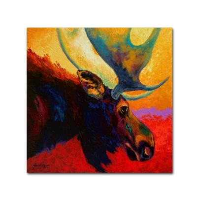 """18 in. x 18 in. """"Alaska Spirit Moose"""" by Marion Rose Printed Canvas Wall Art"""