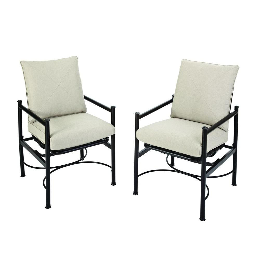 Hampton Bay Barnsley Patio Deep Seating Motion Lounge Chair with Textured Silver Pebble Cushions (2-Pack)-DISCONTINUED