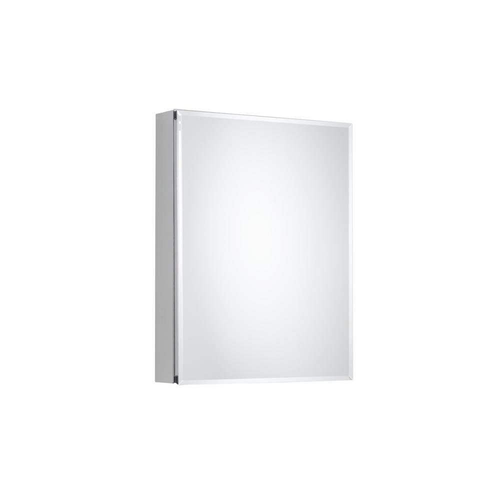 Pegasus 20 in. x 26 in. Recessed or Surface-Mount Bathroom Medicine Cabinet with Beveled Mirror in Silver