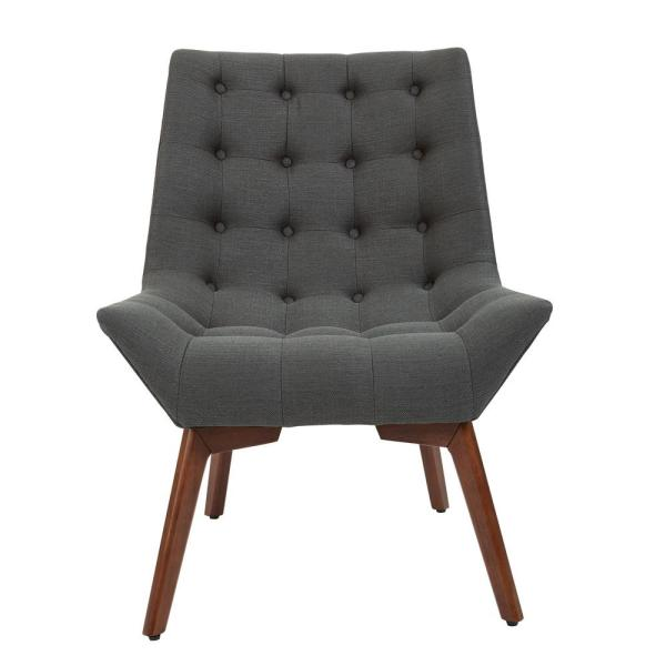 Shelly Charcoal Fabric Tufted Chair with Coffee Legs