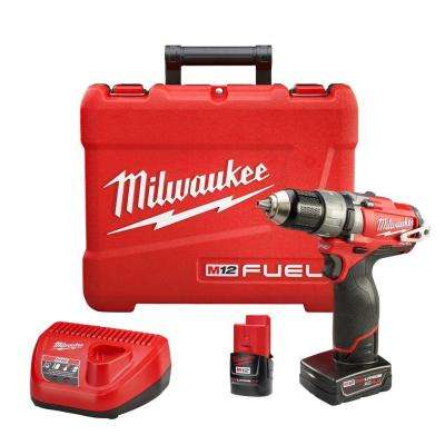 M12 FUEL 12-Volt Cordless Brushless 1/2 in. Hammer Drill and Driver Kit