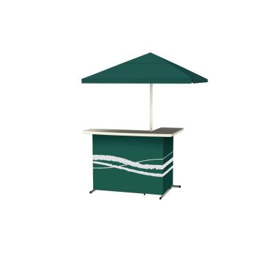 Classic Green All-Weather L-Shaped Patio Bar with 6 ft. Umbrella
