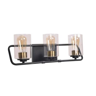 Carleigh 21 in. 3-Light Black and Antique Brass Vanity Light with Clear Glass Shades