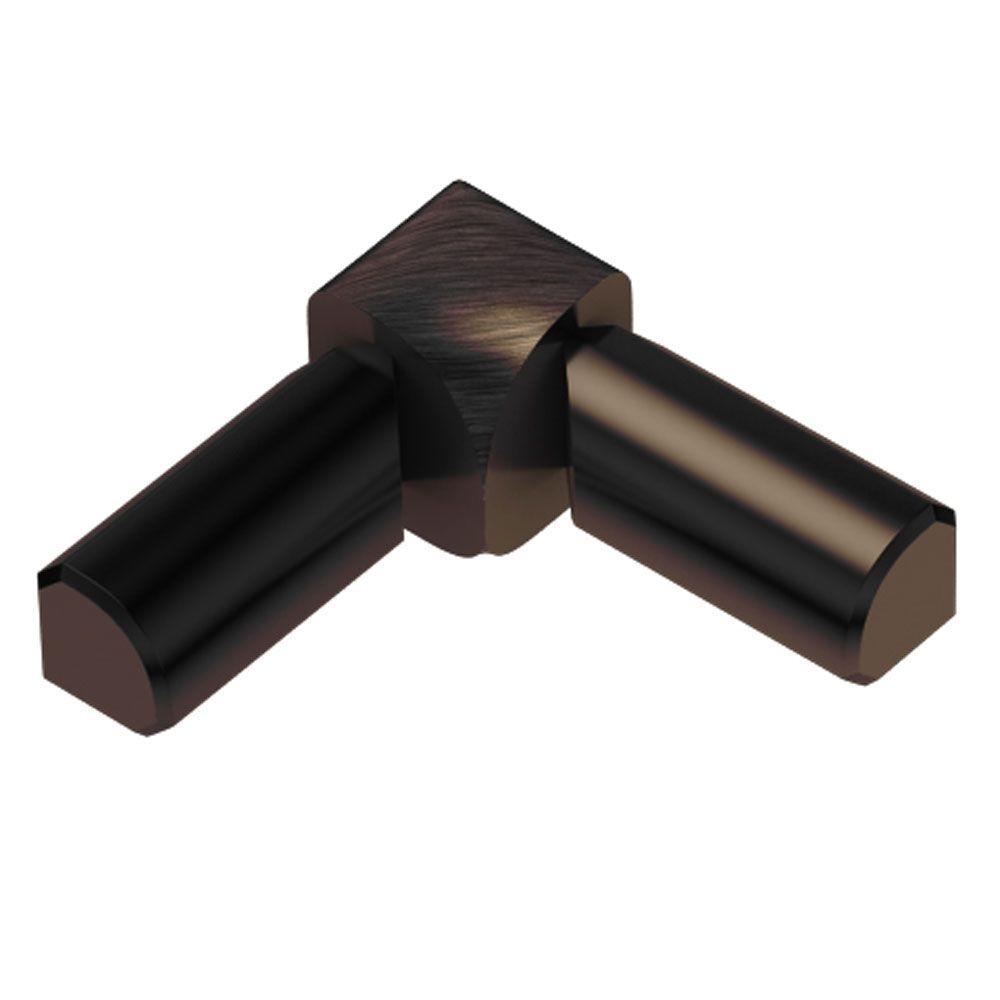 Schluter Rondec Brushed Antique Bronze Anodized Aluminum 3/8 in. x 1 in. Metal 90 Degree Double-Leg Inside Corner