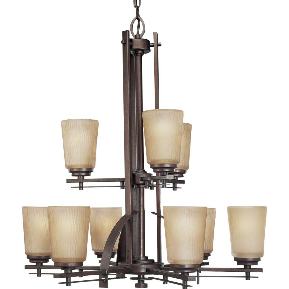 Progress Lighting Riverside Collection 9 Light Heirloom Chandelier With Etched Topaz Gl