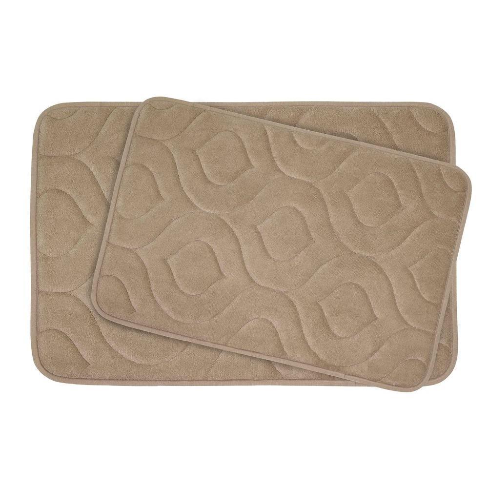 Naoli Linen 20 in. x 34 in. Memory Foam 2-Piece Bath Mat Set