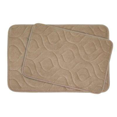 Naoli Linen 20 in. x 34 in. Memory Foam 2-Piece Bath Mat Set