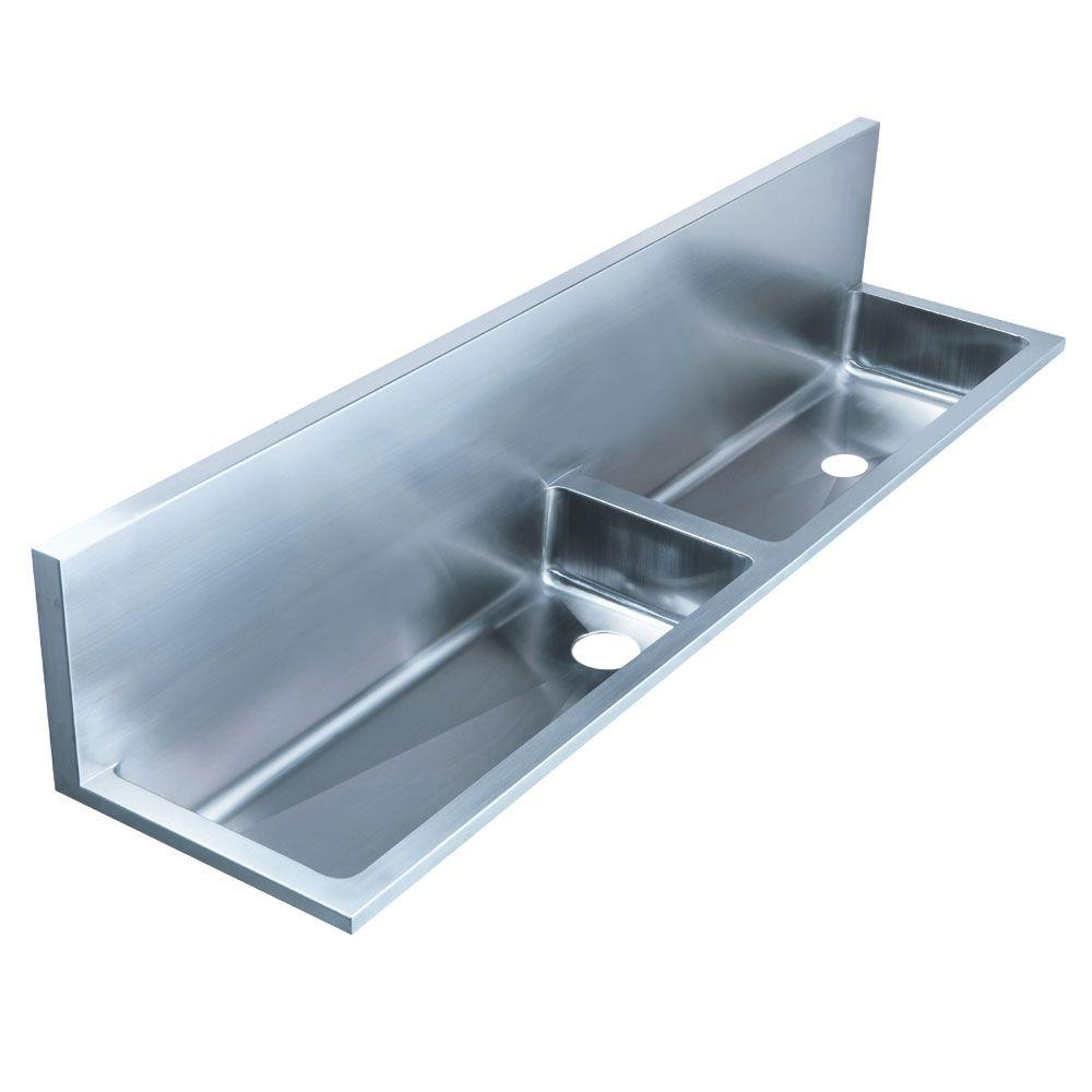Whitehaus Collection Noah's Collection 16 in. Stainless Steel Double Bowl Utility Sink