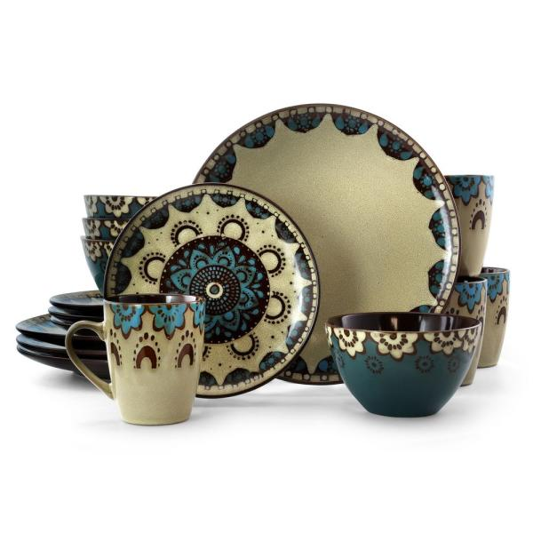 Clay Hart 16-Piece Tan and Blue Stoneware Dinnerware Set (Service for 4)