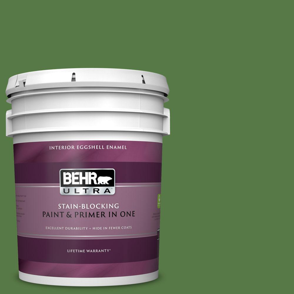 Behr Ultra 5 Gal S H 430 Mossy Green Eggshell Enamel Interior Paint And Primer In One 275305 The Home Depot