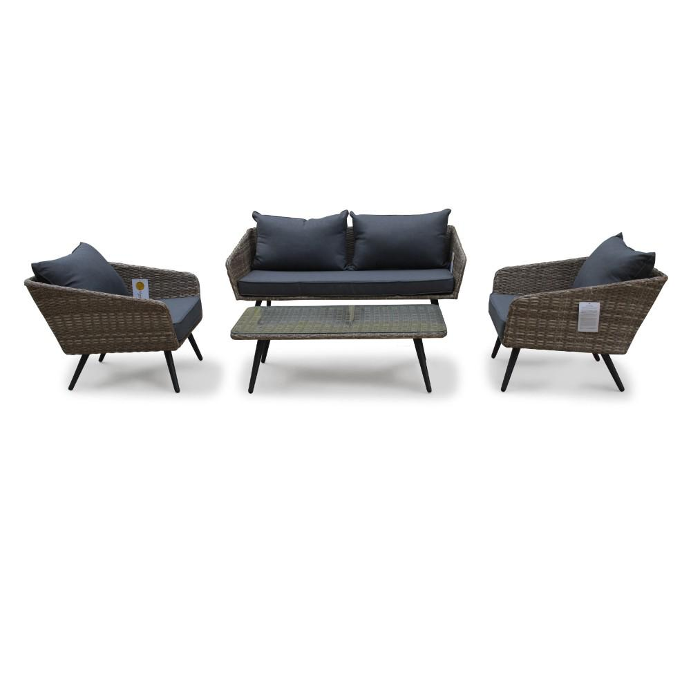 Courtyard Casual Encino 4-Piece Aluminum Outdoor Loveseat Set with Grey Cushions