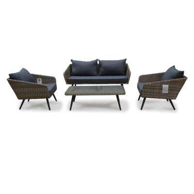 Encino 4-Piece Aluminum Outdoor Loveseat Set with Grey Cushions