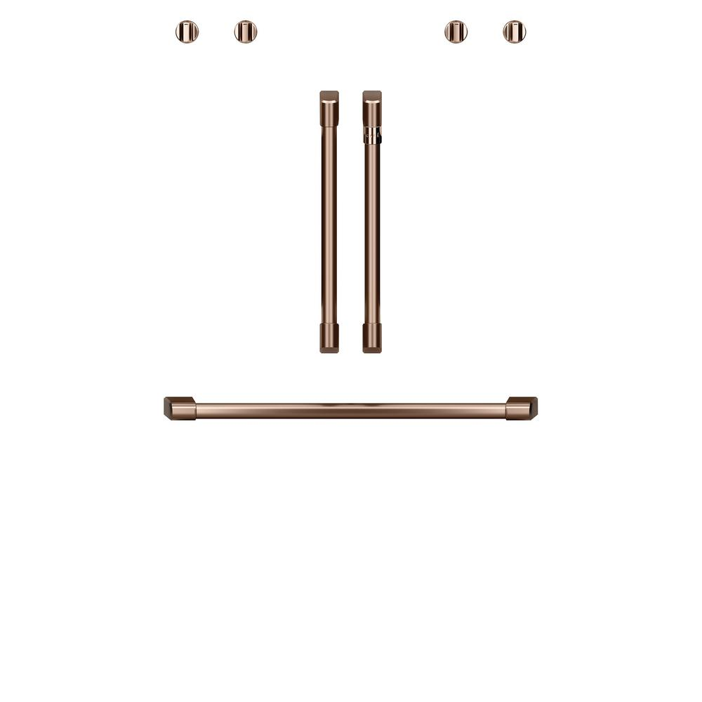 Double Convection Wall Oven Handle and Knob Kit in Brushed Copper