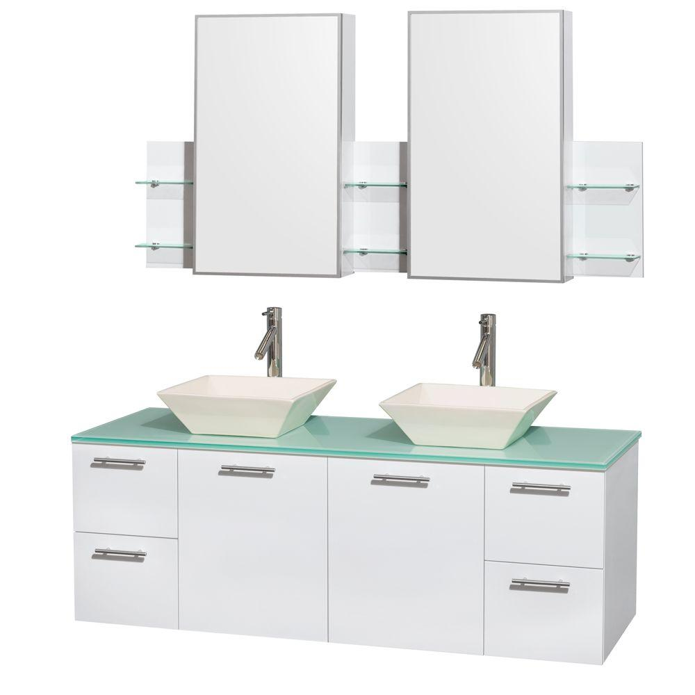 Wyndham Collection Amare 60 in. Double Vanity in Glossy White with Glass Vanity Top in Green, Porcelain Sinks and Medicine Cabinet