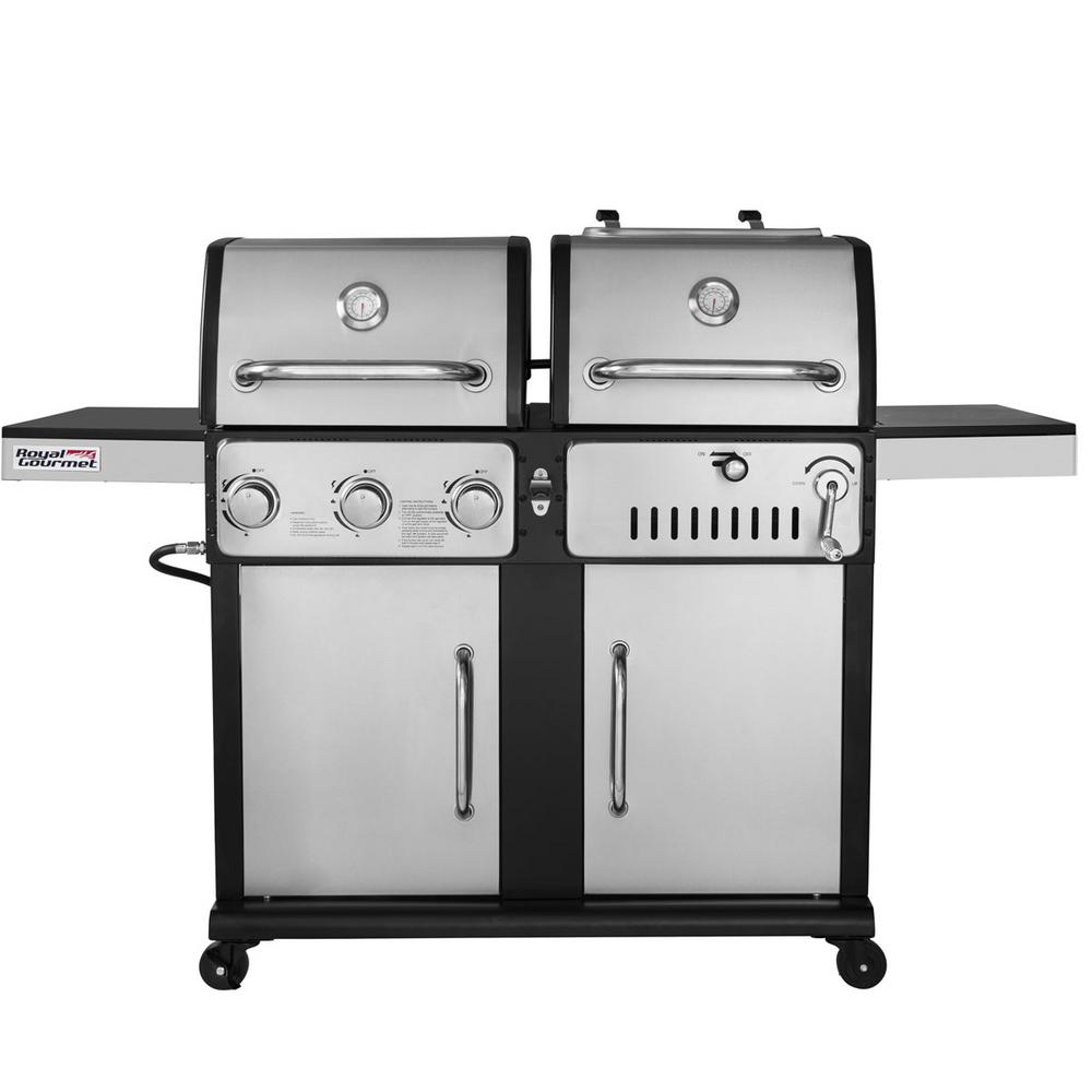 3 Burners Propane Gas Grill And Charcoal Combo In Stainless Steel With 2 Side Tables