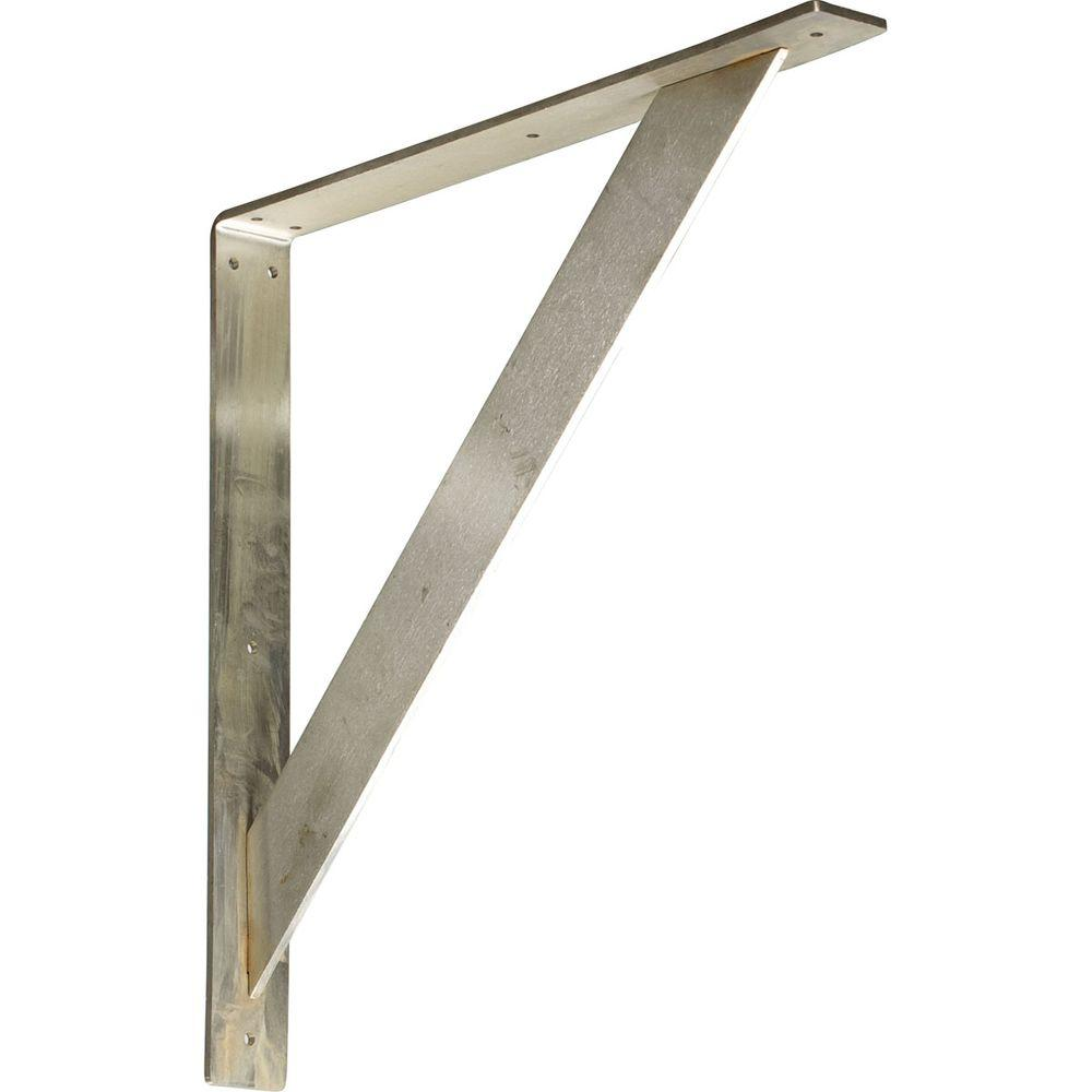 Ekena Millwork 18 in. x 2 in. x 18 in. Stainless Steel Unfinished Metal Traditional Bracket