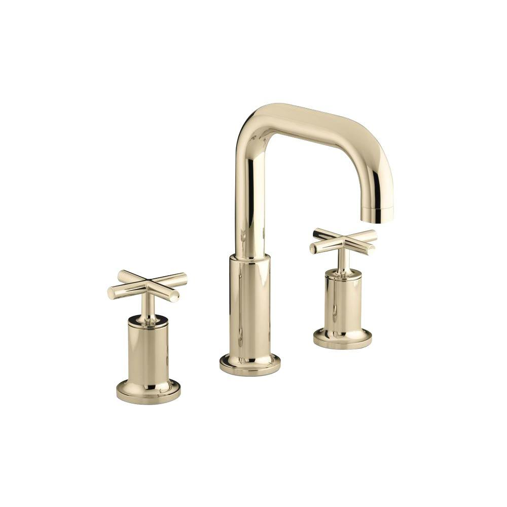 Kohler purist 8 in deck mount 2 handle mid arc bathroom for Bathroom faucets for less