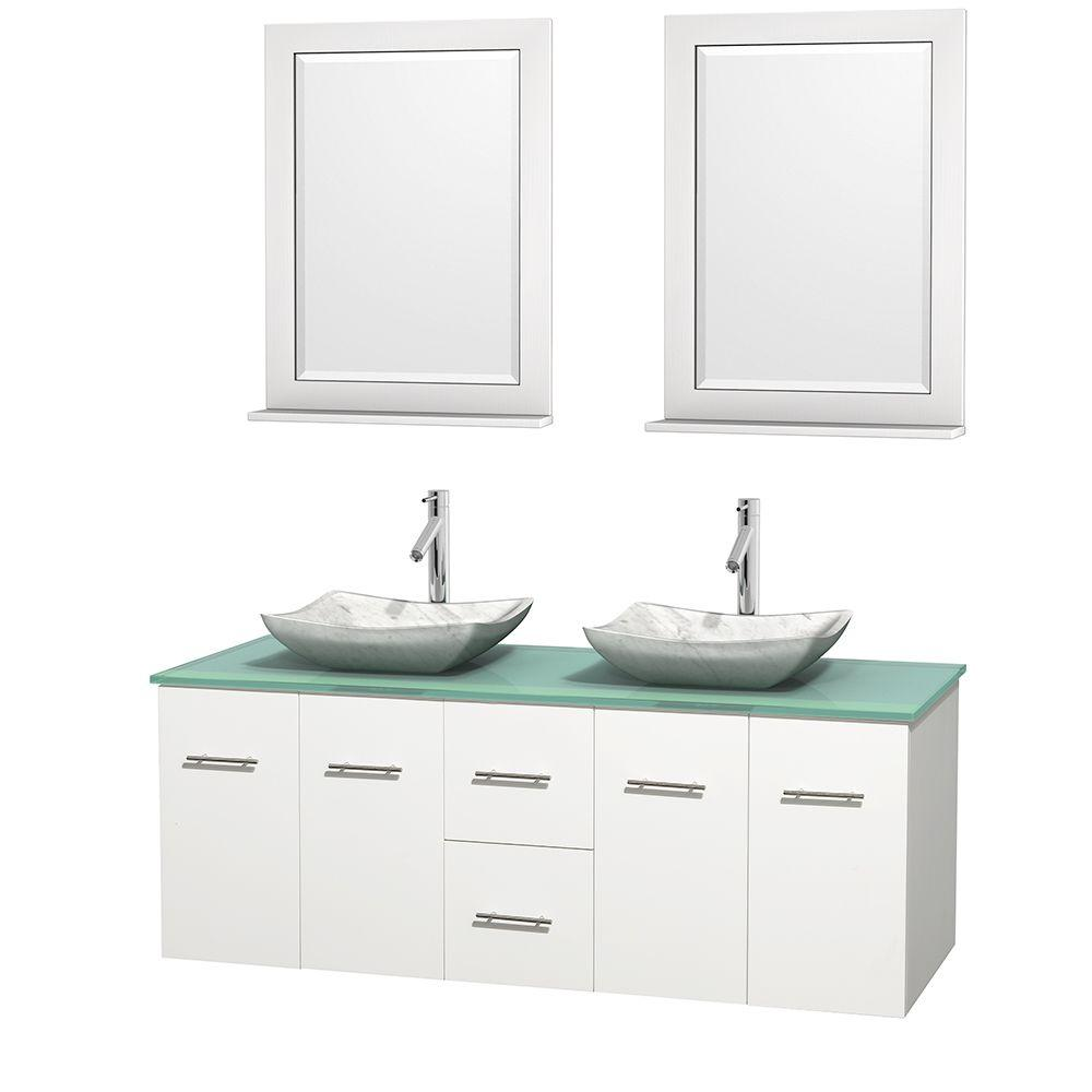 Wyndham Collection Centra 60 in. Double Vanity in White with Glass Vanity Top in Green, Carrara White Marble Sinks and 24 in. Mirrors