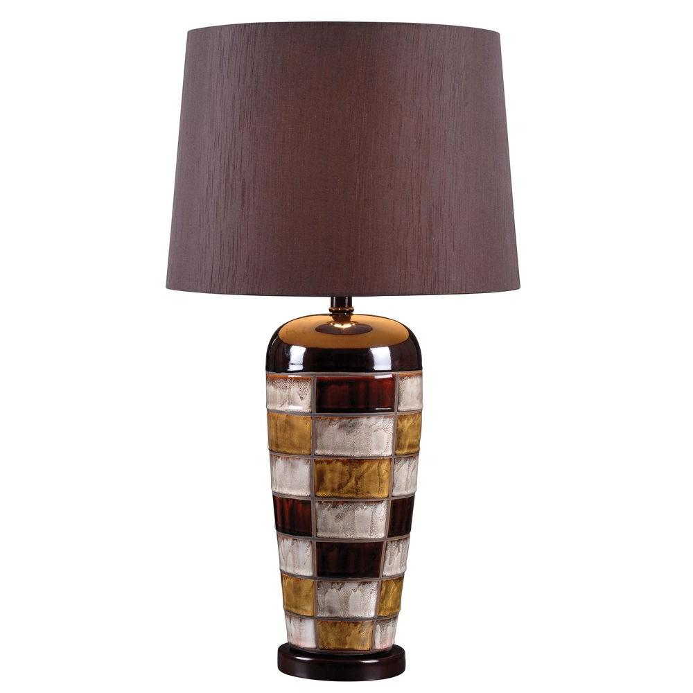 null Torino 30 in. Ceramic Multicolored Squares Table Lamp