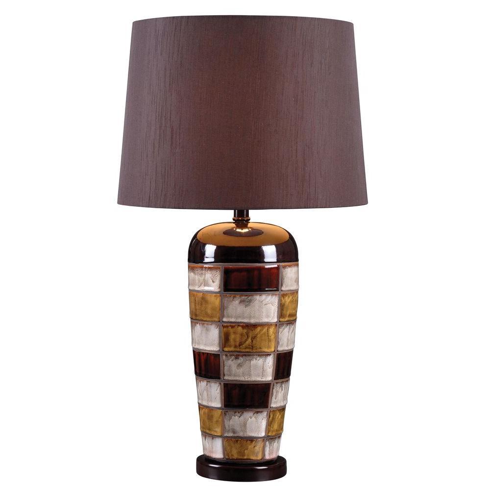 Torino 30 in. Ceramic Multicolored Squares Table Lamp